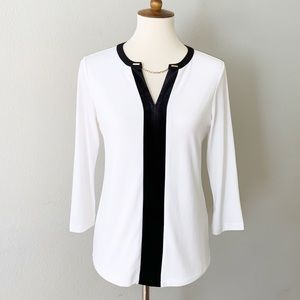 NEW CALVIN KLEIN Long Sleeve Blouse, White, S